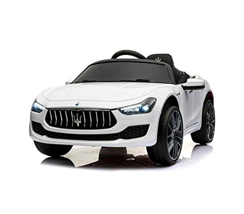 Mediawave Store Auto Bambini elettrica Maserati Ghibli LT880 con mp3 luci LED 12V Telecomando (Bianco)