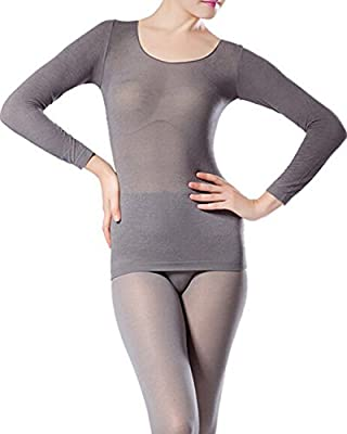 Sexy Seamless Scoop Neck Super Thin Thermal Base Layer Set Top and Bottom (Grey) by