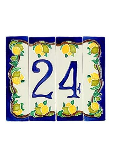 Hausnummern aus Keramik, Hausnummern mit Zitronen, Keramikdübel Nr. 2 Maße: Höhe 15 cm, Gesamtbreite 17,6 cm