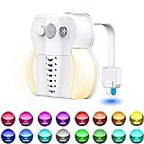 Toilet Night Light, Motion Sensor Night Light, 16 Colors LED UV Toilet Bowl Light with 2 Aromatherapy Tablets,Internal Memory, Light Detection, Color Changing Toilet Light for Bathroom