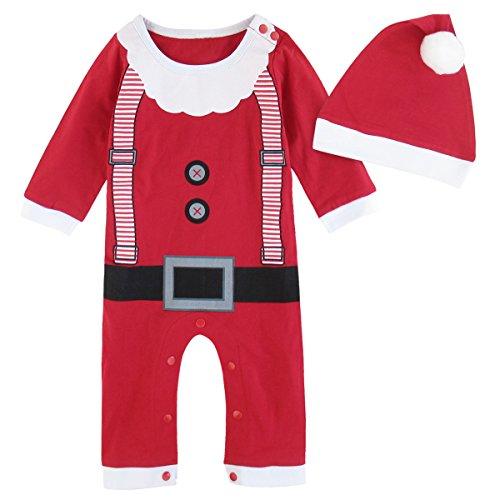 MOMBEBE COSLAND Mono Bebé Niño Manga Larga Disfraz Papá Noel Gorro (Papá Noel, 3-6 Meses)