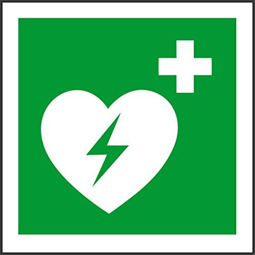 Label - Sécurité - Avertissement - Symbole international automatisé de défibrillateur cardiaque externe - 20x20cm - bureau, entreprise, école, hôtel