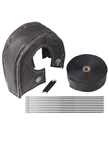 BLACKHORSE-RACING Black Turbo Blanket T4 for Turbocharger Thermal Heat Shield Cover Wrap with Fastener Springs and 2
