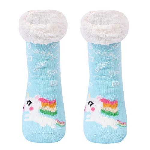 Gather Other Gruesos cachemira lana calcetines de piso, casa abrigados calcetines de mujeres, antideslizantes tejidos calcetines de alfombra (Unicornio-S)