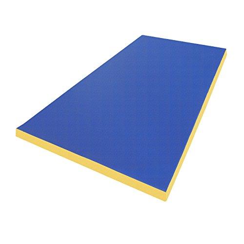 NiroSport Materassino di Caduta 200 x 100 x 8 cm Tappetino da Allenamento Tappetino da Ginnastica per Esercizi Fitness Stuoia Sportiva Gym Mat Impermeabile - Blu/Giallo