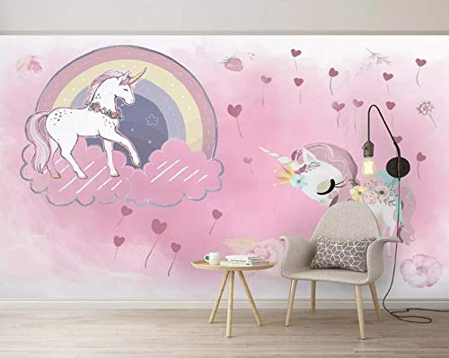 Fotobehang Unicorn, roze, achtergrond, muur, kinderkamer, muur, papel, pintado, achtergrond (H)350MD(W)245cm 1 exemplaar