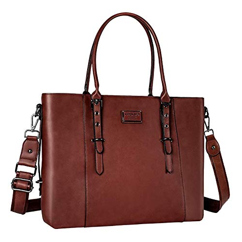 MOSISO Laptop Tote Bag (Up to 13.3 Inch), Water Resistant PU Leather Shoulder Briefcase Handbag Compatible with MacBook & Notebook Large Capacity with Padded Compartment, Brown