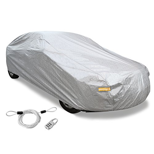 uxcell 3XXL+ Silver Tone Soft Aluminum Car Cover Outdoor Weather Waterproof Breathable Rain Snow Heat Resistant 570 x 190 x 160cm