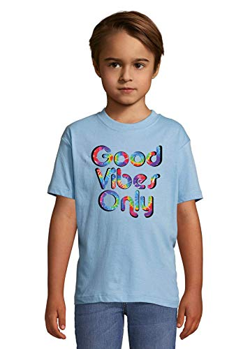 Psychedelic Hippie Styled Good Vibes Only Peace Heaven Kids Colorful T-Shirt 8 Year Old