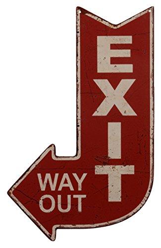 """Targa in metallo per decorazione con la scritta """"Exit Way Out"""" e freccia per l'uscita in stile anticato, 40x 25cm"""