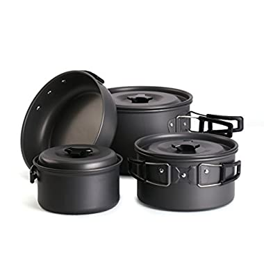 Hikingworld Lightweight Outdoor Camping Pan Hiking Cookware Backpacking Cooking Picnic Bowl Pot Pan Set (3-5 person - nature)