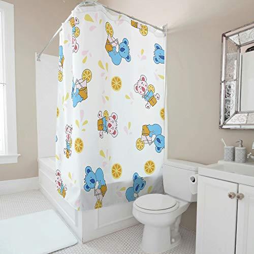 Twelve constellations Cortina de ducha con diseño de koala, de lujo, inoxidable, con ganchos, color blanco, 180 x 180 cm