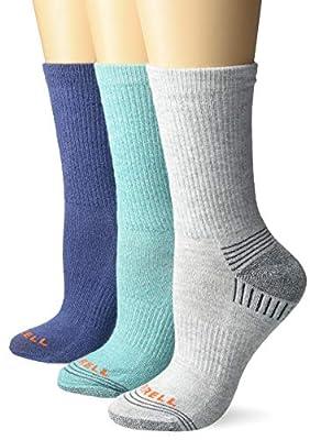 Merrell womens Repreve Cushioned Hiker Crew 3 Pair Casual Sock, Ceramic, Grey, Blue, Small-Medium US