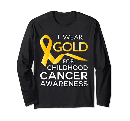 Camiseta Infantil Cancer Awareness Gold for a Child Fight Manga Larga