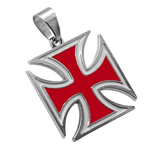 tumundo 1 Kettenanhänger Eisernes Kreuz Anhänger Iron Cross Für Halskette Panzerkette Königskette Weiß Schwarz Silbern, Farbe:rot