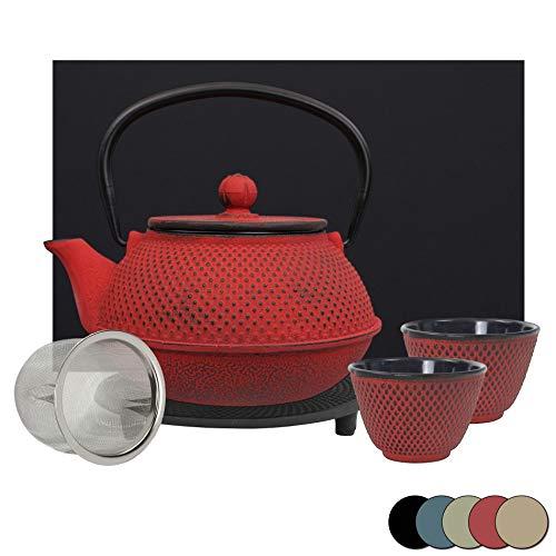 theebloem | gietijzeren theepot set | gietijzeren theepot met zeef | incl. onderzetter, 2 qua kleur bij de pot passende bekers & geschenkdoos | binnen volledig geëmailleerd | kleurkeuze