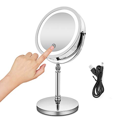 BRIGHTINWD Rechargeable Makeup Mirror with Dimmable Lights, 10X Magnifying Mirror Lighted Makeup Mirror with Lights and Magnification, Touch Screen, USB Charge Or Battery Shipped from USA