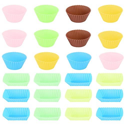 OUNONA Moldes Individuales para Magdalenas Reutilizable Moldes para Muffins Silicona 24pcs
