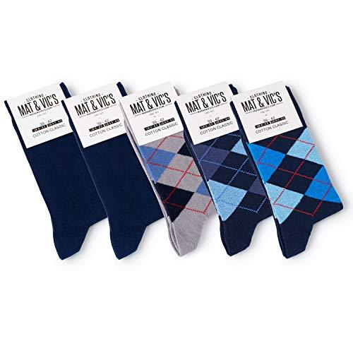 5 Paar Socken von Mat & Vic's für Sie und Ihn - Cotton classic Socks, gekämmte Baumwolle, ohne drückende Naht, Komfortbund, OEKO-TEX Standard 100, Navy Mix 1, 43-46