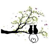 Wandtattoo - Zwei Kätzchen auf einem Ast - 3farbig / 49 Farben / 4 Größen/schwarz...
