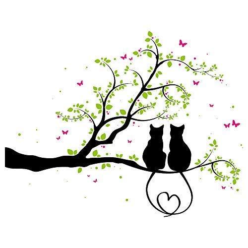 Wandtattoo - Zwei Kätzchen auf einem AST - 3farbig / 49 Farben / 4 Größen/schwarz / 115 x 142 cm