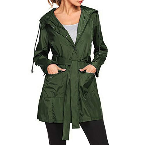 Dhyuen Abrigo de manga larga para mujer, de un solo color, resistente al viento, ligero, transpirable, para exterior, deportivo, con botones y cordón, Verde militar., L