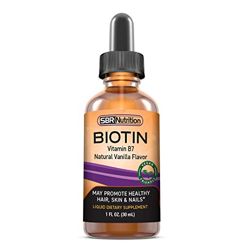 MAX Absorption Biotin Liquid Drops, 5000mcg of Biotin Per Serving, 60 Serving, No Artificial Preservatives, Vegan Friendly, Hair Growth, Strong Nails and Glowing Skin, Made in USA (Vanilla 5000mcg)