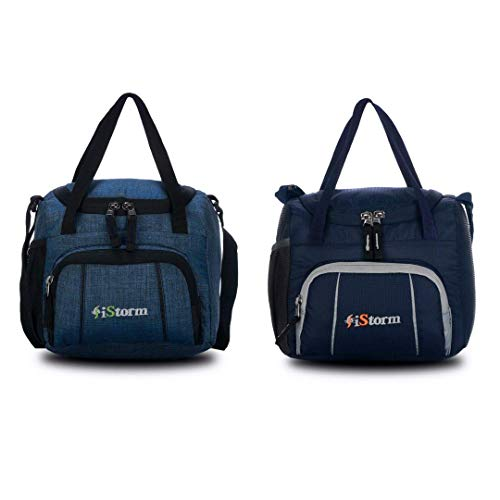iStorm Polyester Lunch Bag/Tiffin Bag for Lunch Box (Sea Blue & Navy, Pack of 2)