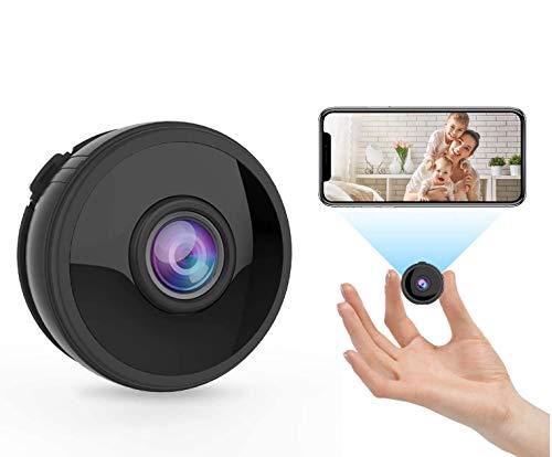 Mini WLAN Kamera Uberwachungskamera Wireless Full HD 1080P mit 6 Infrarot Licht Nachtsicht Bewegungserkennung App Fernbedienung 150 Weitwinkel