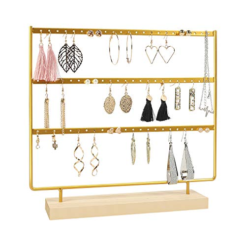 Suneed Earring Holder Organizer Jewelry Display Stands Earring Organizer Stand Jewelry Holder Organizer, Earring & Necklace Jewelry Towel Organizer Display Tree (Glod-3Layer)