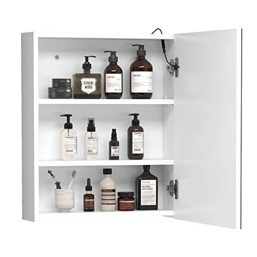 HOMCOM LED Spiegelschrank Lichtspiegel Badspiegel Badschrank Badezimmerspiegel Wandspiegel 15W (Modell 1)