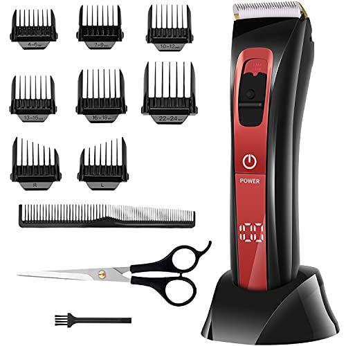 Haarschneidemaschine Profi Haarschneider Herren Akku Haartrimmer Bartschneider mit 36 Längeneinstellungen IPX6 Akku- und Netzbetrieb Rot