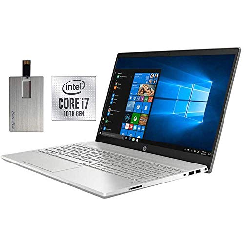 2020 HP Pavilion 15.6' FHD Touchscreen Laptop Computer, 10th Gen Intel Core i7-1065G7, 12GB RAM, 1TB HDD+256GB SSD, Backlit Keyboard, B&O Audio, HD Webcam, USB-C, Win 10, Grey, 32GB SnowBell USB Card
