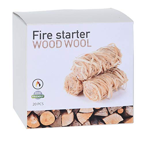 eworld direct - Wood Wool Flame Fire Starter, Natural Eco Firelighters for Home, Fire Pit Log Burner Stove, BBQ's, Pizza Ovens & Smokers, Safe Charcoal Starter for Lighting Lumpwood Charcoal Bbq