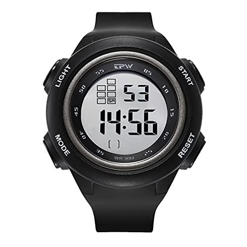 ABOOFAN Reloj electrónico de silicona para estudiantes, reloj digital LED, electrónico, unisex, cuadrado, grande, para hombres, mujeres, estudiante