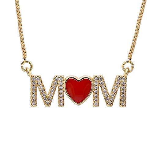 chushi Amo Mamá Rojo Esmalte Corazón Collar Collar Madre Caja De Regalo Cadena Circón Letra Collar Collar Mujer Joyería Casera Zzib (Color : Gold)