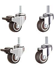 Tonxu Set met 2 zwenkwielen M8 met remmen en 2 zwenkwielen M8 zonder remmen, draaibare rubberen schacht voor meubels, bureaustoel, 2 stuks