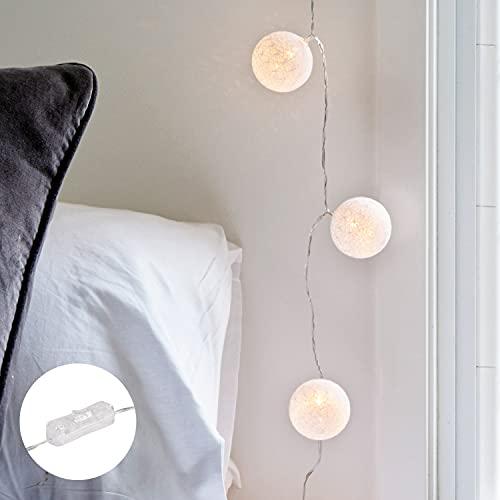 Lights4fun Guirlande Lumineuse 20 Boules en Coton à LED Blanc Chaud sur Prise pour Intérieur