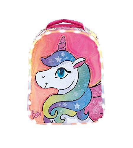 Footy - Mochilas Preescolar para Niñas | Mochila con Dibujo Unicornio para Chicas de Infantil | Muy Cómoda | Luces Led Incluidas | Ideal para el Colegio o Actividades