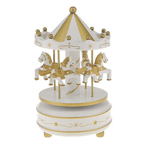 Generic Boîte à Musique Carrousel Manège Bois Rainbow Décoration Cadeau Jouet Musical pr Enfant (10 Styles) - Blanc et Or, L