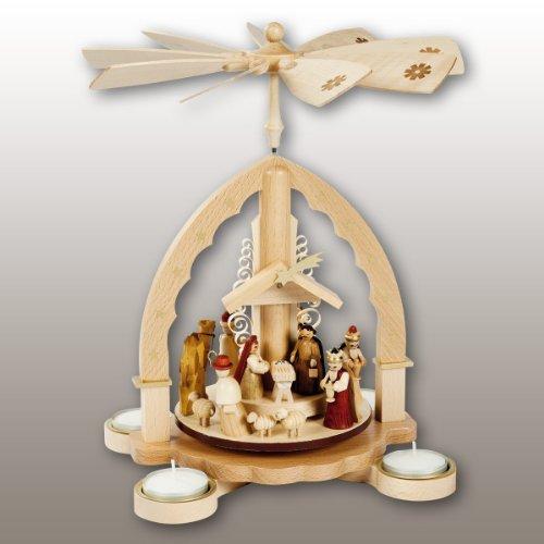 16092 Christmas Pyramid Erzgebirge Richard Glässer Seiffen Christ Birth for Tealights 1 Tier Natural