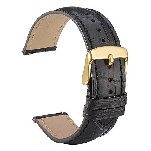 WOCCI 20mm Liberación Rápida Correa de Reloj de Cuero Repujado, Hebilla de Oro (Negro)