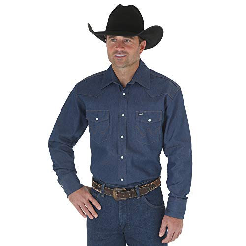 Wrangler Men's Authentic Cowboy Cut Work Western Long-Sleeve Firm Finish Shirt, Rigid Indigo Denim, Large