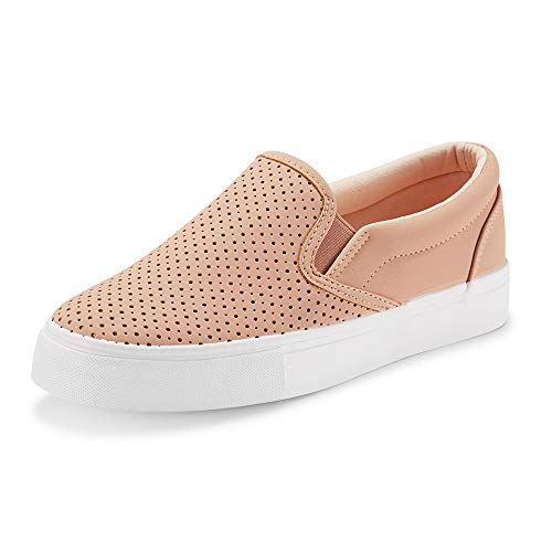 JENN ARDOR Women's Fashion Sneakers Perforated Slip on Flats Comfortable Walking Casual Shoes (8, Pink)