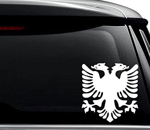 Albanian Eagle Albania Flag Decal Sticker For Use On Laptop, Helmet, Car, Truck, Motorcycle, Windows, Bumper, Wall, and Decor Size- [6 inch] / [15 cm] Tall / Color- Gloss White