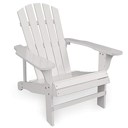 Adirondack Chair Country Classic Wood Painted White, Outdoor Garden Patio Armchair Seating Recliners, Support 220lbs (Color : White)