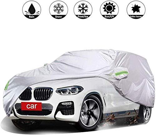 Leilims Auto Cover Compatibel met BMW X4 SUV Auto Beschermende Handdoek Vouwen Anti UV Anti Regen Stofdichte Sneeuw Guard Auto Cover,Zilver