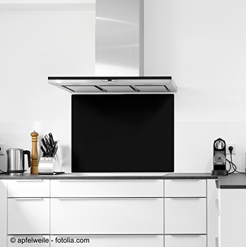 ECOfoxx 6mm ESG Glas Küchenrückwand Spritzschutz Herd Fliesenspiegel Glasplatte Rückwand viele Größen (Schwarz, 90x40cm)
