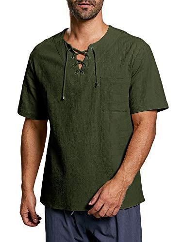 Herren Hemd Kurzarm Mittelalter Freizeithemd Mit Schnürung Regular Fit Baumwolle T Shirt Sommer Tops, A-Grün, L