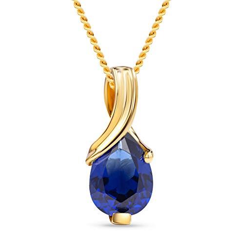 Miore Kette Damen Halskette mit tropfen Anhänger Edelstein/Geburtsstein Saphir in blau Kette aus Gelbgold 9 Karat / 375 Gold, Halsschmuck 45 cm lang